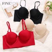 FINETOO – soutien-gorge Push Up pour femmes, sous-vêtement une pièce, Sexy, coupe 1/2, sans couture, bretelles réglables