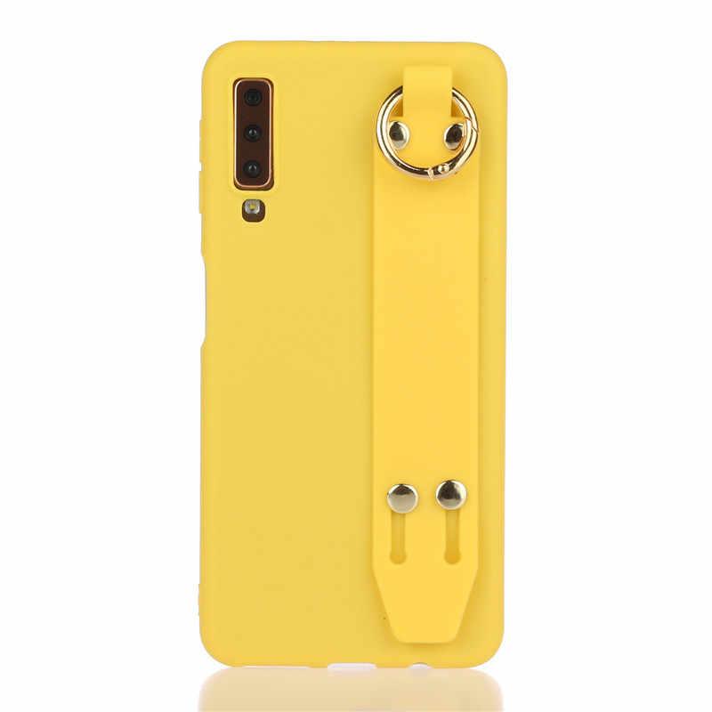 Cinturino da polso Cassa Del Telefono Per Samsung Galaxy A10 A20 A30 A40 A50 A70 A20E A10E A30S A50S Copertura di Colore Della Caramella caso Con Wristband