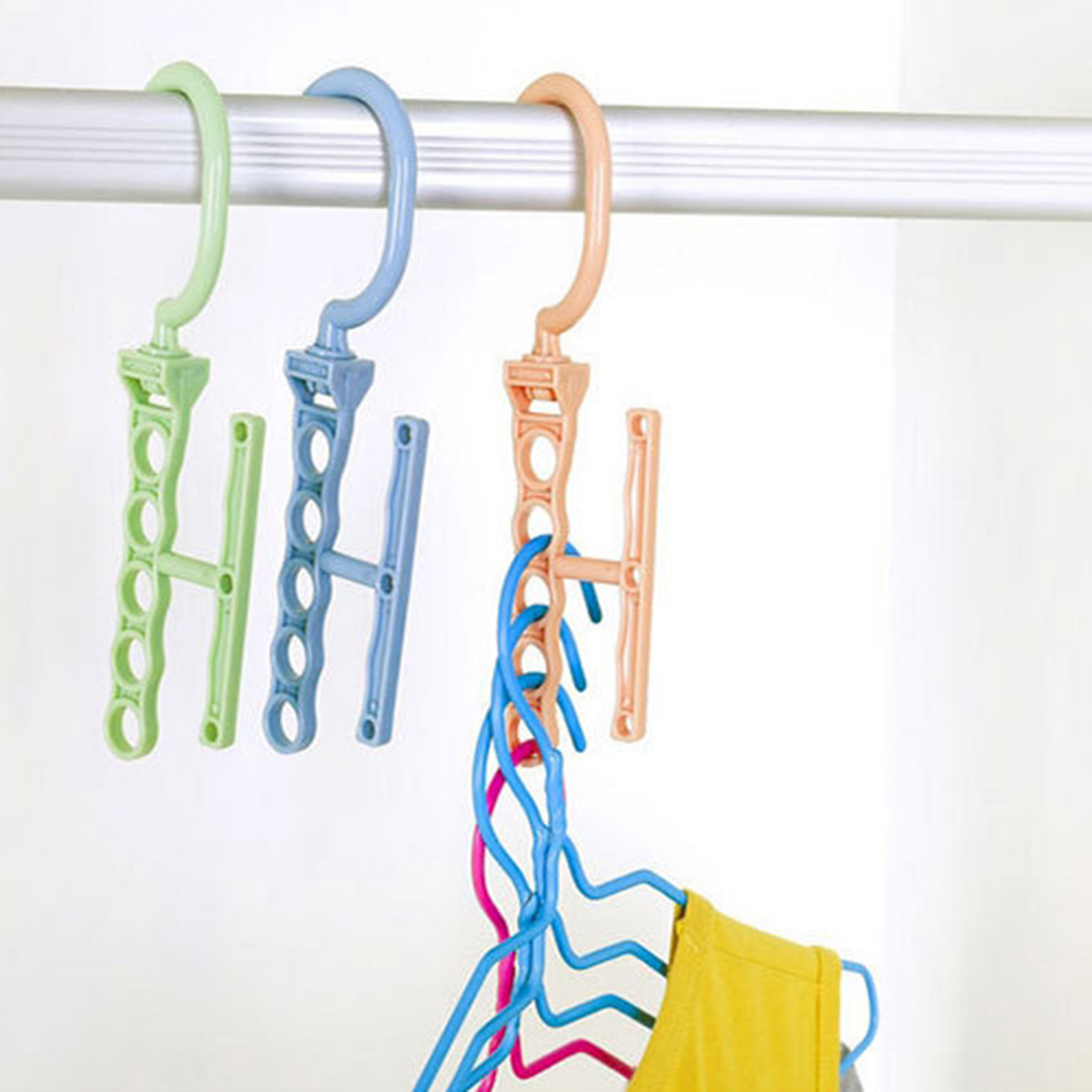Multilayer Windproof Clothes Hanger Organizer Fixed Holder Storage Racks Buckle Closet Hanger Plastic 5 Circle Anti-Slip Home