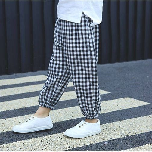 VIDMID Baby kids Boys girls cotton plaid pants trousers spring summer baby kids children casual fashion pants trousers P2082 5
