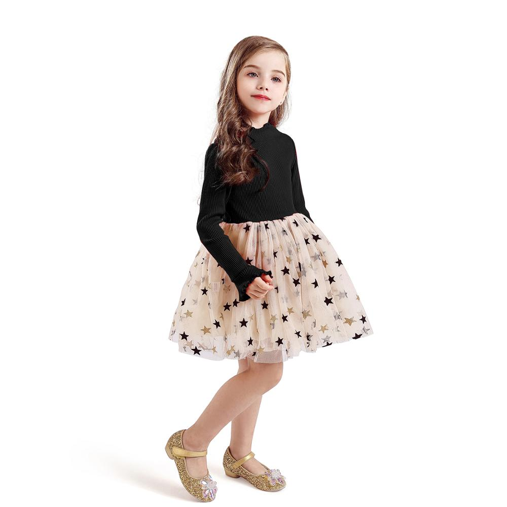 Kid Dresses For Girls Long Sleeve Girl Dress Sequin Star Children Dress Casual Dress Kid Dress Girl Party Wear Clothing Vestidos 4