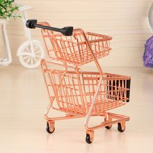 Simulation Supermarket Shopping Cart Figurines Wrought Iron Mini Double Shopping Children Play House Trolley Toy Home Decor NEW!(China)