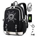 Naruto Rucksack für Jungen Mädchen Schule Tasche mit Usb Lade Druck Sharingan Logo Student Laptop Reise Rucksack für Männer