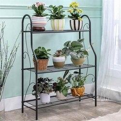 3-layers Iron Plant Stand Shelf Rack Simple Indoor Coffee Bar Garden Balcony Flower Pot Shelf Multi-use Shelf Home Decoration