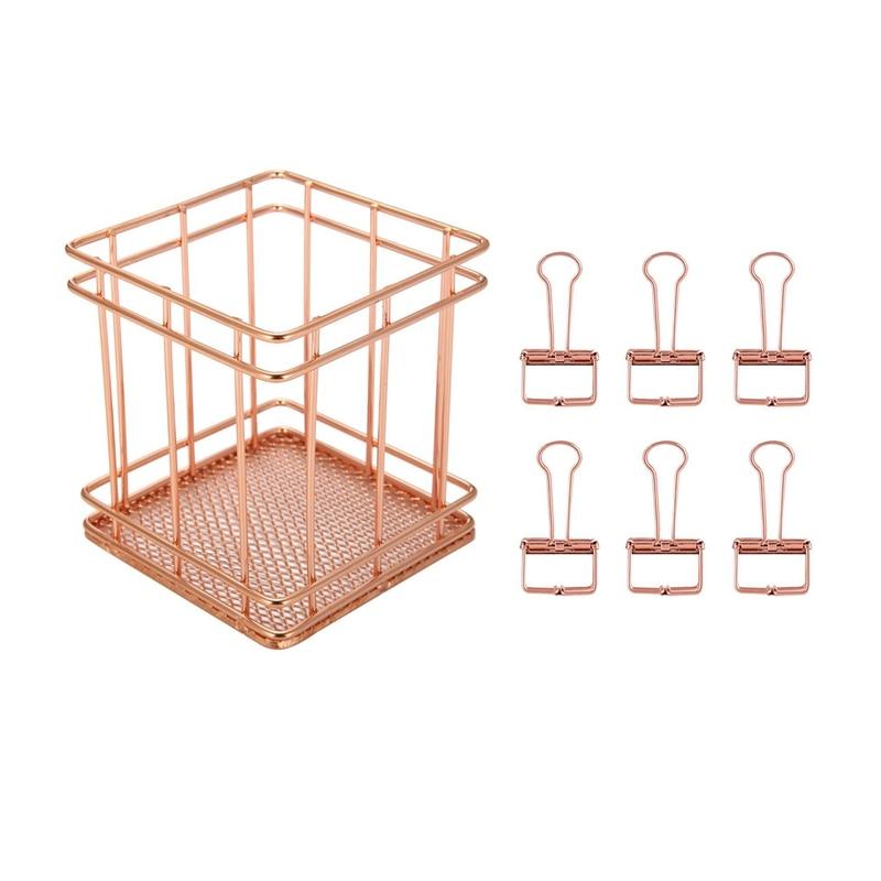 9 Pcs Rose Gold Stationery Organizer For Office School: 8 Pcs Binder Clip Paper Organizer Decorative Metal Clips & 1 Pcs Square