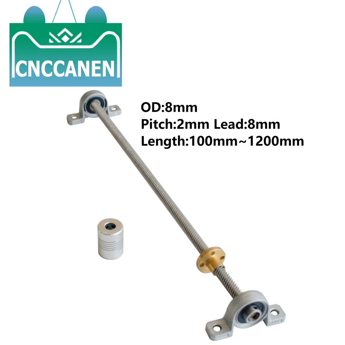 T8 Lead Screw 100mm -1200mm Pitch 2mm Lead 8mm With Nut & KP08 Bearing Bracket & 5*8 Mm Flexible Coupling 3D Printer Parts
