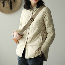 Fitaylor Autumn Winter Women Turn Down Collar Down Coat Ultra Light 90% White Duck Down Jacket Single Breasted Windproof Parkas