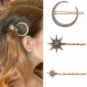 New Fashion Rhinestone Hair Clip Geometric Star Moon Shape Hairpin Headband Crystal Hair Accessories For Women Girls Headwear 1