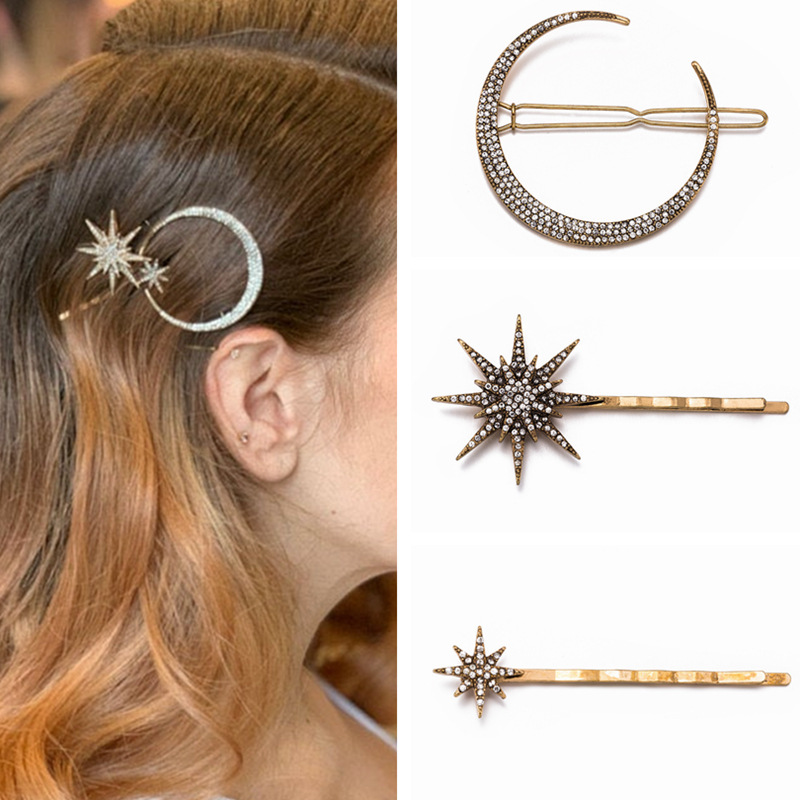 New Fashion Rhinestone Hair Clip Geometric Star Moon Shape Hairpin Headband Crystal Hair Accessories For Women Girls Headwear
