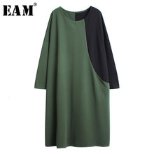 [EAM] Women Green Contrast Color Split Big Size Dress New Round Neck Long Sleeve Loose Fit Fashion Tide Spring Autumn 2019 1H175(China)