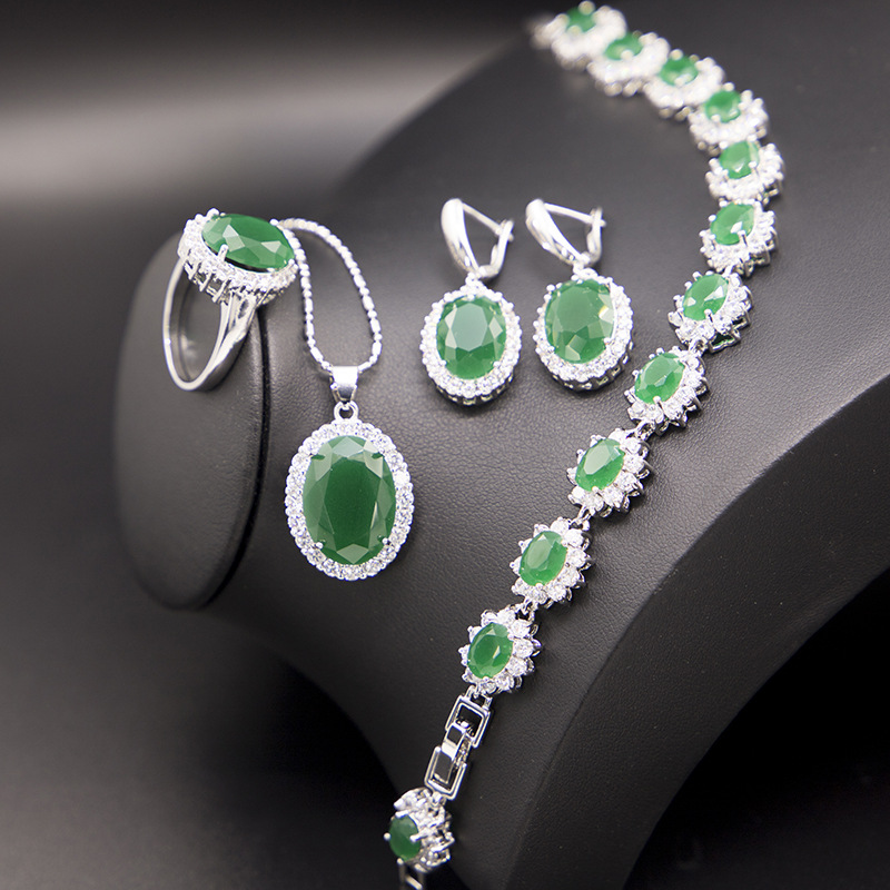 GZJY Women Green Cubic Zirconia Jewelry Sets 925 Silver Earrings Necklace Pendant Bracelet Ring For Wedding Bridal Party Gifts(China)