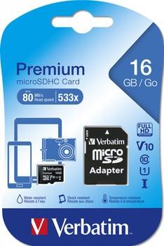 Memory card 16GB-verbatim-micro Secure Digital HC class 10 44082 with SD adapter (original!!!!!)