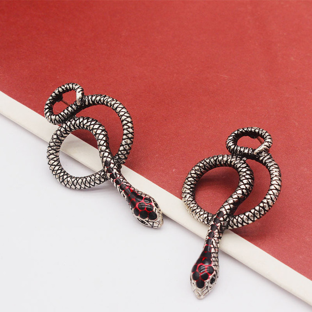 European Vintage Silver Long Snake Earrings for Women Jewelry Punk Gothic Handmade Animal Womens Stud Earings.jpg 640x640 - European Vintage Silver Long Snake Earrings for Women Jewelry Punk Gothic Handmade Animal Womens Stud Earings Girl Gift E318