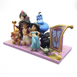Image 2 - Figuras de acción de la princesa Aladdín de Disney, figuras de PVC de Jasmine, Genie, garar, regalo de Navidad para chico