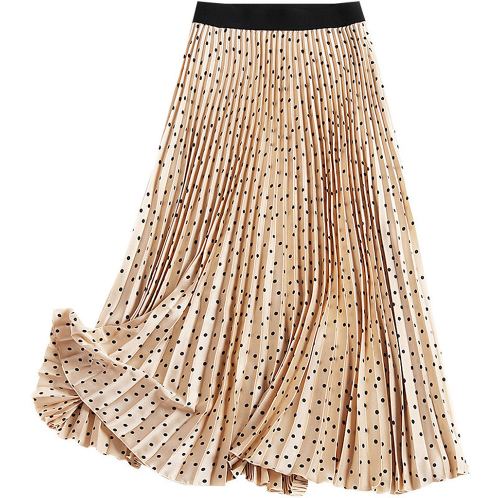 Women Long Skirts Elastic Waist Pleated Maxi Skirts Beach Boho Vintage Summer Polka dot Skirts Womens Loose Comfortable Female