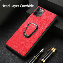 Phone Case For iPhone 11 Pro Max Cowhide Litchi Texture With Bracket Genuine Leather For Apple X XS Max XR 9 8 7 6 6S Plus Cover genuine leather phone case for iphone 11 pro cases litchi texture for apple x xs max xr 6 6s 7 8 plus se 2 cowhide cover funda