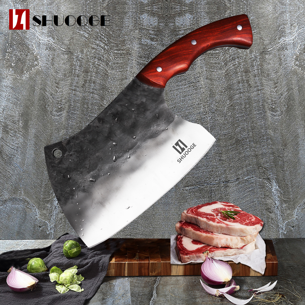 SHUOOGE Very large Full Tang Handmade Forged Chef Knife Hard Clad Steel Blade Butcher Slaughter Cleaver Knife Kitchen Chopping