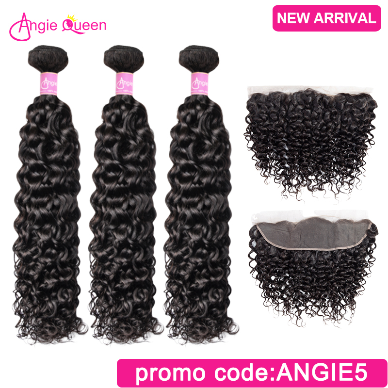 Angie Queen Water Wave Indian Remy Hair Natural Color Hair Bundles With Frontal Lace Frontal With 3 Bundles Human Hair L