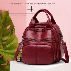 Image 2 - Korean Style Leisure Soft Leather Female Backpack 2018 Multifunction Travel Bag Mini Backpack Mom Women Shoulder Bag Sac A Dos