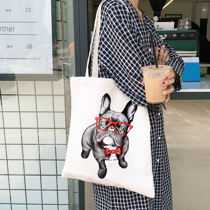 French Bulldog Bag Ladies Handbags Cloth Canvas Tote Dog Lover Bag Shopping Travel Women Eco Reusable Shoulder Shopper Bags