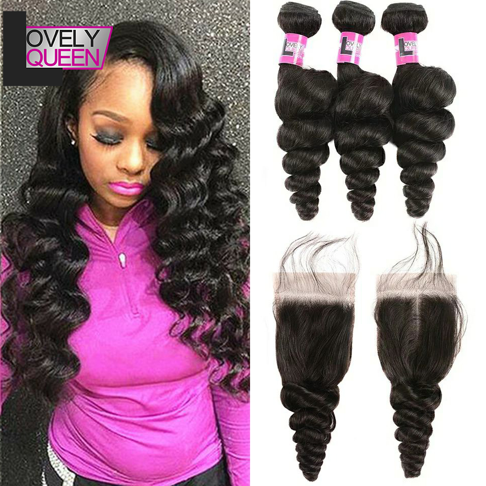 Brazilian Hair Loose Wave Bundles With Closure Human Hair Wavy Bundles 3 Bundles With Closure Cheap Bundles Of Hair With Closure