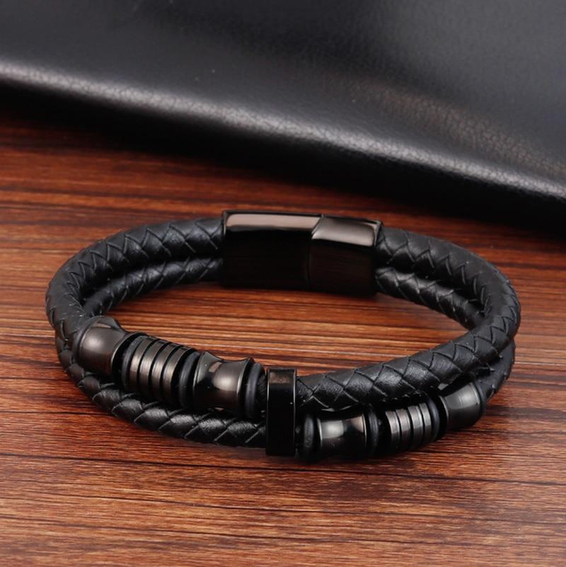 Гламурный панк браслет из натуральной кожи двойной слой специальные ювелирные изделия для мужчин подарок на день отца