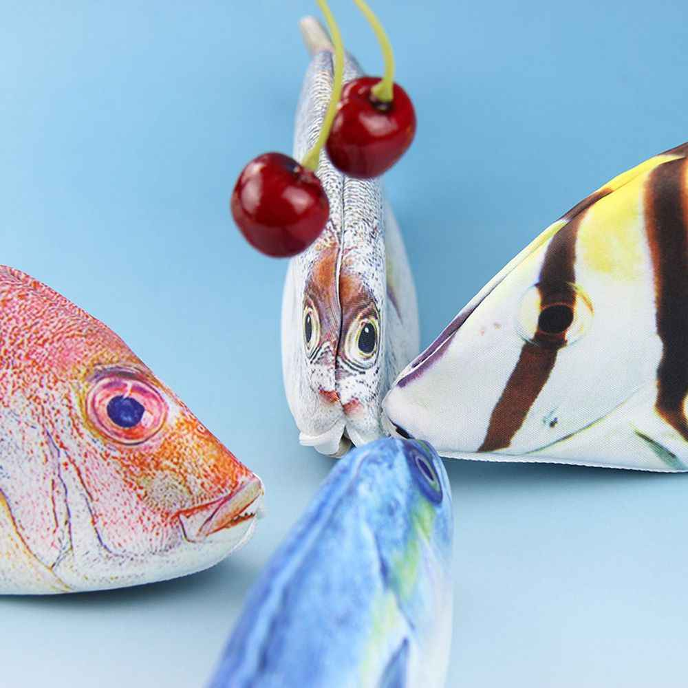 1 個クリエイティブ魚の形のペンケースかわいい韓国スタイルの布鉛筆バッグオフィス学用品文房具ホットペンボックスギフト