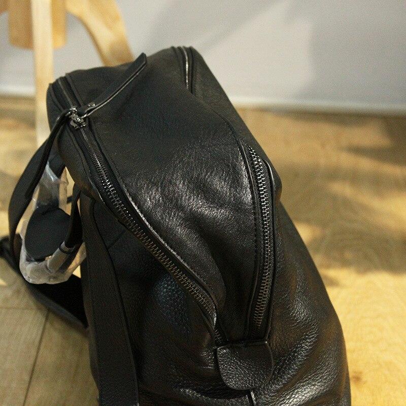 Mochila femmes sac à dos en cuir concepteur véritable cuir de vachette sac d'école dame Double fermeture éclair grande capacité Bookbag Simple sac à dos - 3