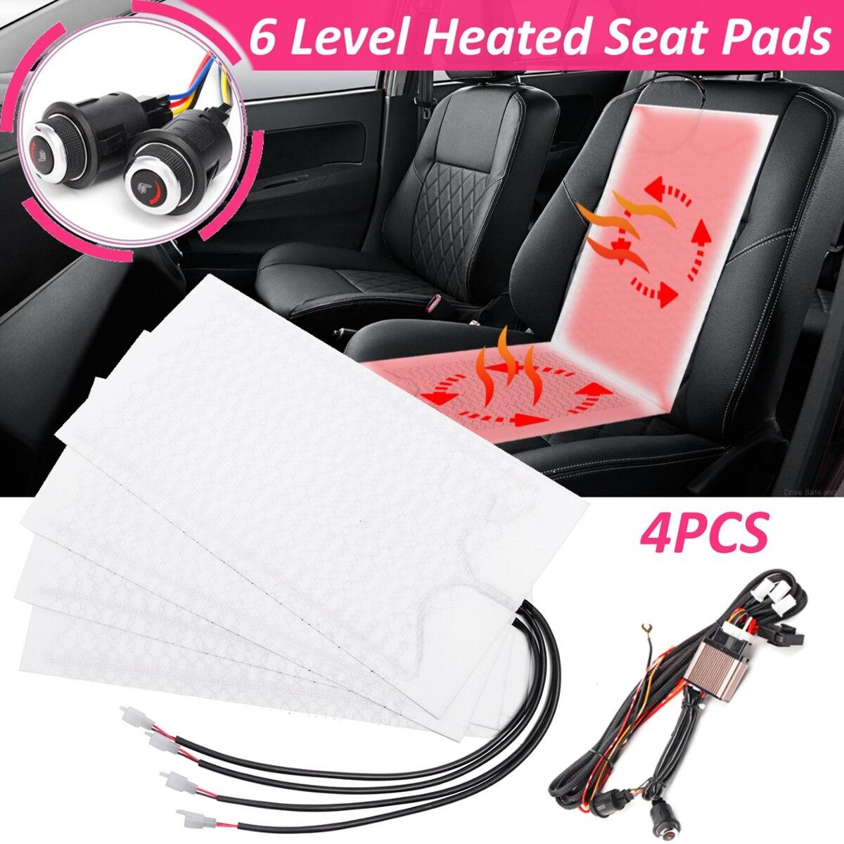 4Pcs Universal Car Seat Heater Pad Set Carbon Fiber Auto Seat Heating Mat Kit with Round Switch 12V