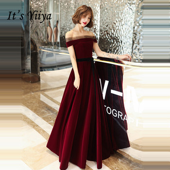 Its Yiiya Evening Dresses Elegant Velvet Boat Neck Off Shoulder Formal Gowns Burgundy Long robe de soiree LF127