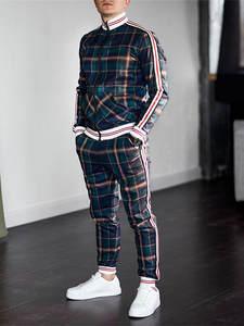 Plaid Tracksuit Two-Piece-Set Men-Sets Men's Clothing Autumn Casual Fashion Spring
