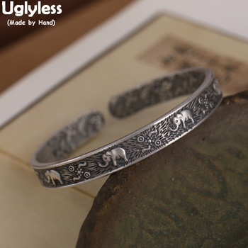 Uglyless Real 999 Silver Thai Silver Elephants Bangles for Women 2-side Carved Flowers Open Bangle Vintage Fashion Dress Jewelry
