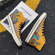 Новинка года; сезон весна; Мужская Вулканизированная обувь; обувь с граффити; Мужская Повседневная модная высокая обувь; удобная парусиновая обувь в стиле хип-хоп для подростков
