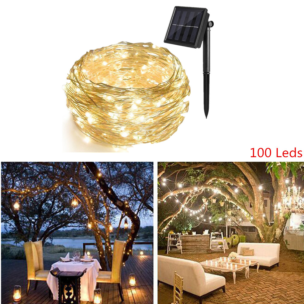 LED Solar String lamp 2 mode Fairy <font><b>Light</b></font> Christmas <font><b>Lights</b></font> <font><b>10m</b></font> <font><b>100LED</b></font> Copper Wire Wedding Party Decor Lamp Garland image