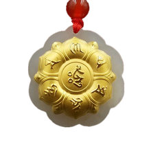 Drop Shipping Hetian Jade Pendant Gold Jade Six-word Rumor Necklace Lucky Amulet Buddhism Mantra Jewelry For Men Women Gift(China)