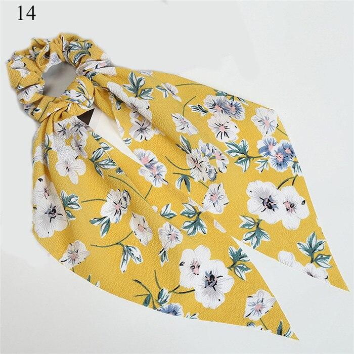 Богемные резинки для волос в горошек с цветочным принтом и бантом, женские эластичные резинки для волос, повязка-шарф, резинки для волос, аксессуары для волос для девочек - Цвет: New 14