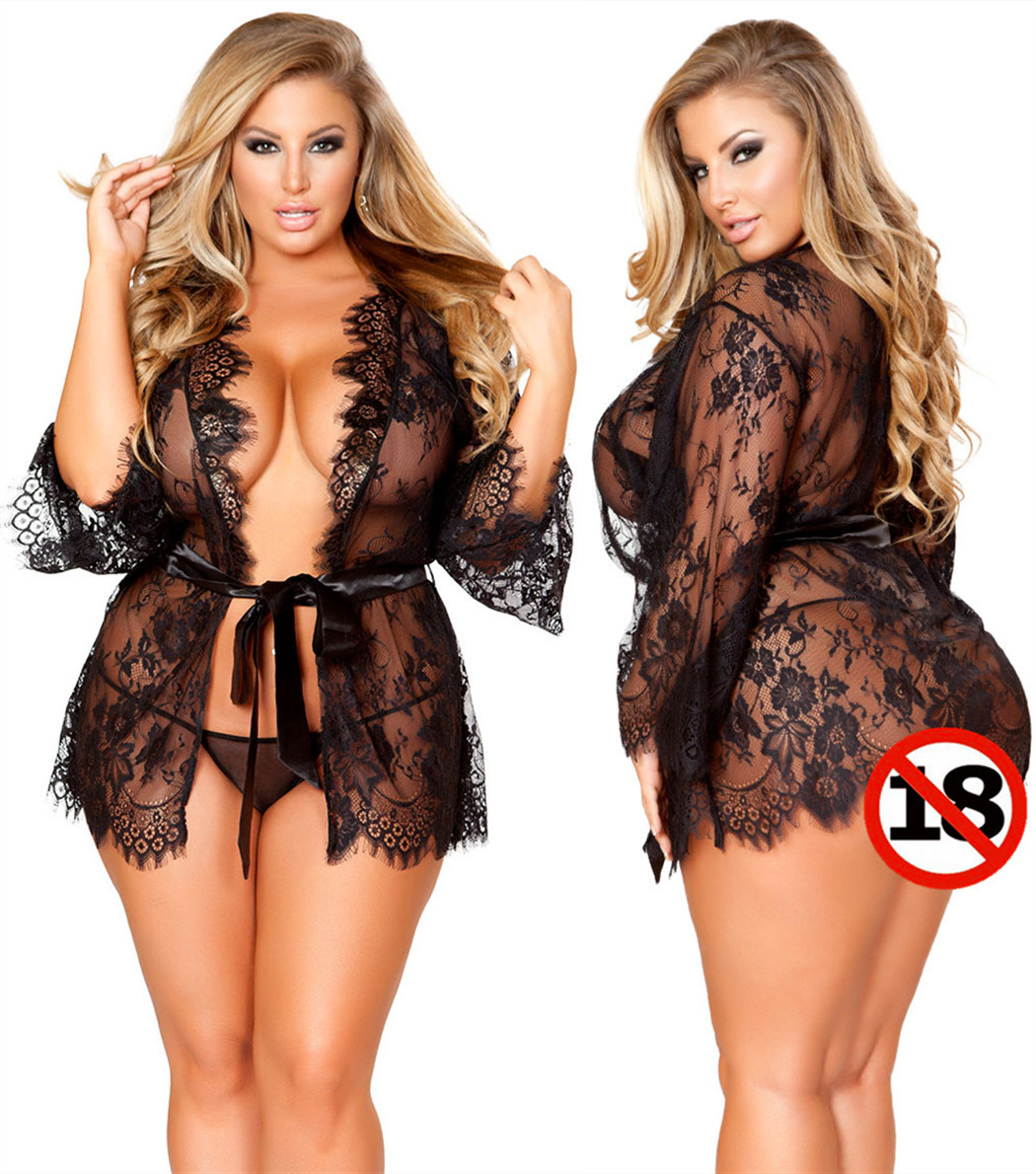 <font><b>Sexy</b></font> Lace <font><b>Lingerie</b></font> Hot Plus Size Erotic Transparent Women Babydoll Dress Costume Mini Open Underwear Nightwear 5XL 6XL <font><b>7XL</b></font> image