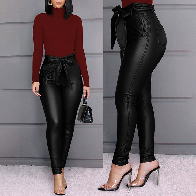 Spring Women Pu Leather Pants Black Sexy Stretch Bodycon Trousers High Waist Long Casual Pencil S-3XL Winter 5