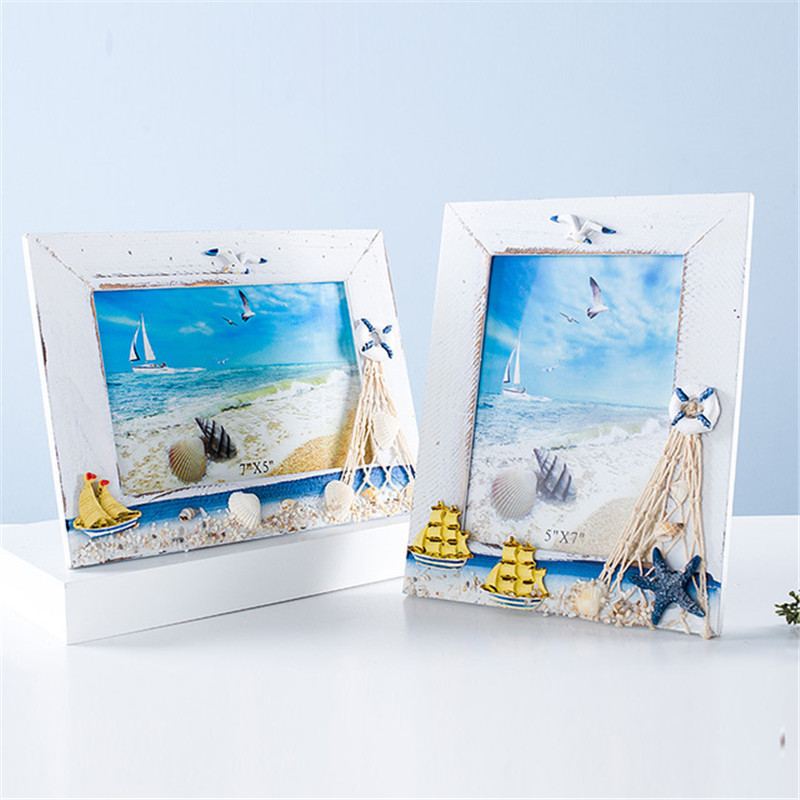 6 Inch 7 Inch Photo Frames Beach Natural Style Bedroom Sailboat Sea Shell <font><b>Seabird</b></font> Wood Picture Frames Display Life Gift Crafts image