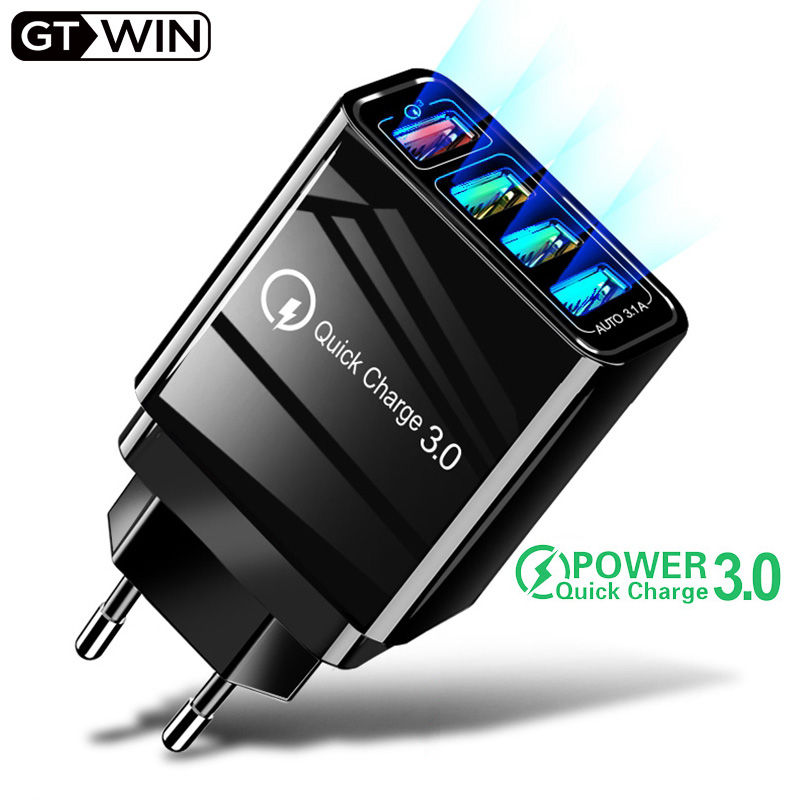 GTWIN USB Charger Fast Travel Mobile Phone Charge Quick Wall Charging EU UK US QC 3.0 Plug Adapter For iPhone Huawei Mate 30 Pro
