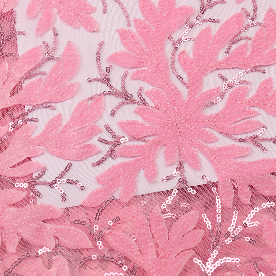 Image 5 - Baby Pink Velvet Lace African Lace Fabrics Wholesale Nigerian Tulle Mesh Lace Sequence Lace Fabric for Bridal Materials APW2911B-in Lace from Home & Garden