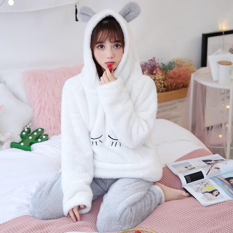JULY'S SONG Cute Winter Flannel Animal Pajamas Set Women's Sleepwear Thick Plush Cartoon Soft Cute Girl Plus Velvet Homewear