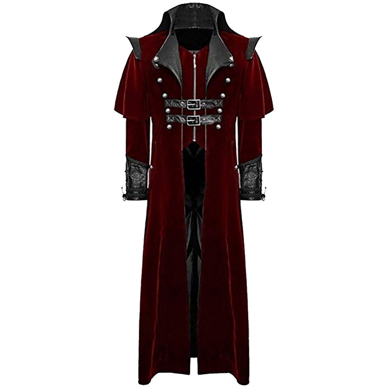 OEAK Mens Steampunk Tuxedo Uniform Tailcoat Gothic Victorian Long Halloween Stage Show Vampire Retro Coat Coat Men's Windbreaker