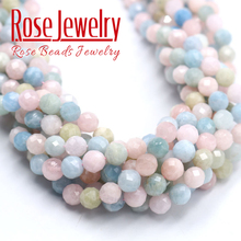 AAAAA Natural stone beads Multicolor faceted Morganite beads Stones Loose Beads 4 6 8 10 12mm DIY Bracelet Necklace Accessories
