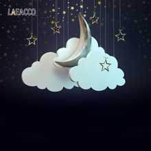 Laeacco White Clouds Moon Stars Baby Birthday Party Photography Backgrounds Customized Photographic Backdrops For Photo Studio