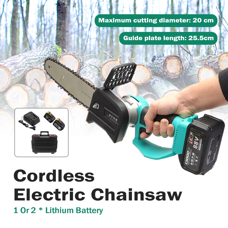 Cordless Chain Saw 88V/198V Brushless Motor Power Tools Lithium Rechargeable Cordless Electric Chainsaw Garden Power Tools