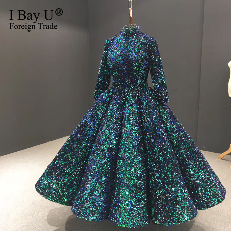 Glitter Green High Collar Evening Dress Short 2020 Luxury Long Sleeve Sequined Sparkle Semi Formal Gowns