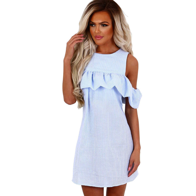 <font><b>Women</b></font> Summer <font><b>Dress</b></font> Female Cute Mini <font><b>Dress</b></font> <font><b>Blue</b></font> <font><b>Pink</b></font> Girls Striped <font><b>Dress</b></font> <font><b>Sexy</b></font> Off Shoulder Slim Ruffles Ladies Vestidos image