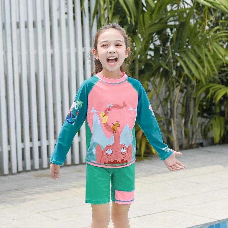 KID'S Swimwear Girls Split Type Boxer Baby Big Boy Swimwear Long Sleeve Sun Blocking Dai Like GIRL'S Tour Bathing Suit