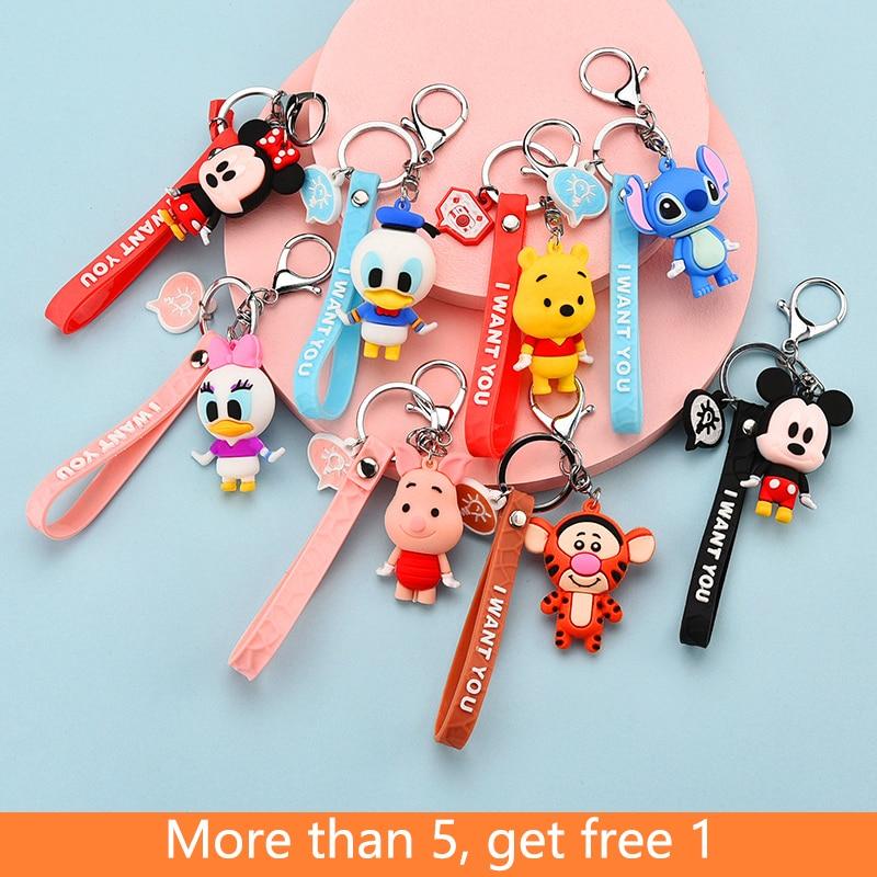 Disney Keychain Mickey Minnie Pooh Bear Stitch Cute Cartoon Figure Doll for Girls Bag Charms Car Pendant Keyrings